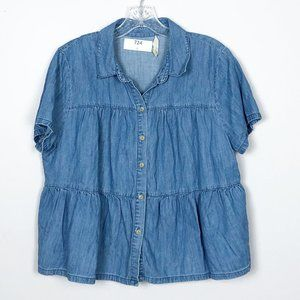 Madewell | chambray tiered button front blouse L